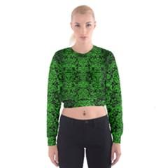 Damask2 Black Marble & Green Brushed Metal Cropped Sweatshirt