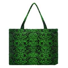 Damask2 Black Marble & Green Brushed Metal Medium Tote Bag