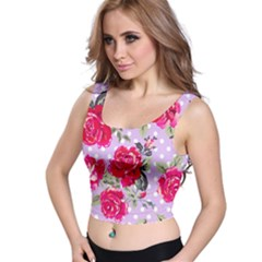 Shabby Chic,pink,roses,polka Dots Crop Top