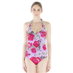 Shabby Chic,pink,roses,polka Dots Halter Swimsuit