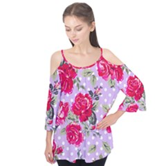 Shabby Chic,pink,roses,polka Dots Flutter Tees