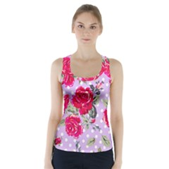 Shabby Chic,pink,roses,polka Dots Racer Back Sports Top