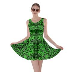 Damask2 Black Marble & Green Brushed Metal (r) Skater Dress