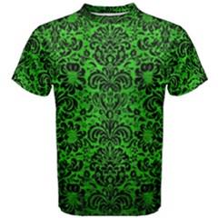 Damask2 Black Marble & Green Brushed Metal (r) Men s Cotton Tee