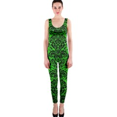 Damask2 Black Marble & Green Brushed Metal (r) Onepiece Catsuit