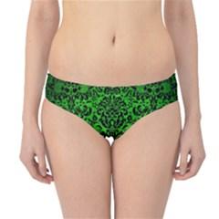 Damask2 Black Marble & Green Brushed Metal (r) Hipster Bikini Bottoms
