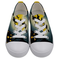 Halloween Landscape Kids  Low Top Canvas Sneakers