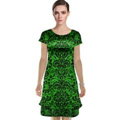 Damask2 Black Marble & Green Brushed Metal (r) Cap Sleeve Nightdress
