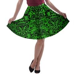 Damask2 Black Marble & Green Brushed Metal (r) A Line Skater Skirt