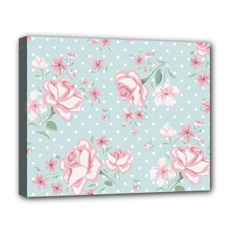 Shabby Chic,pink,roses,polka Dots Deluxe Canvas 20  X 16