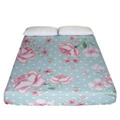 Shabby Chic,pink,roses,polka Dots Fitted Sheet (california King Size)