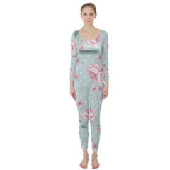 Shabby Chic,pink,roses,polka Dots Long Sleeve Catsuit