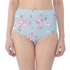 Shabby Chic,pink,roses,polka Dots High Waist Bikini Bottoms