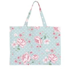 Shabby Chic,pink,roses,polka Dots Zipper Large Tote Bag