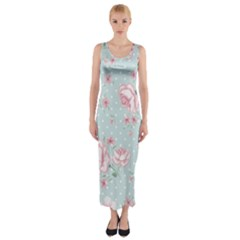 Shabby Chic,pink,roses,polka Dots Fitted Maxi Dress