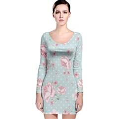 Shabby Chic,pink,roses,polka Dots Long Sleeve Velvet Bodycon Dress