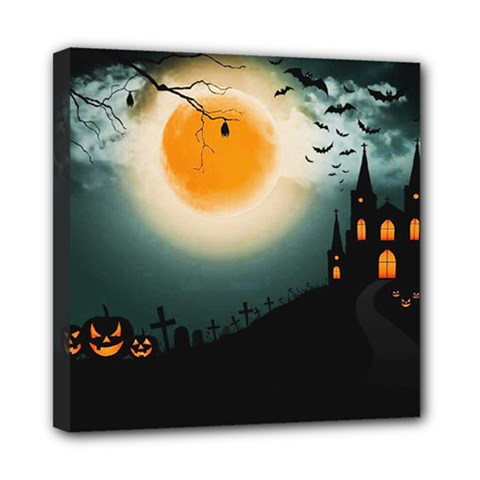 Halloween Landscape Mini Canvas 8  X 8