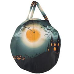 Halloween Landscape Giant Round Zipper Tote