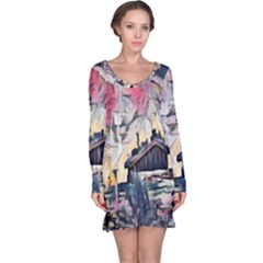 Modern Abstract Painting Long Sleeve Nightdress