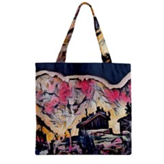 Modern Abstract Painting Zipper Grocery Tote Bag