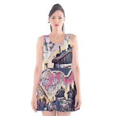 Modern Abstract Painting Scoop Neck Skater Dress