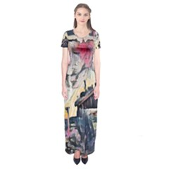 Modern Abstract Painting Short Sleeve Maxi Dress