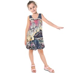 Modern Abstract Painting Kids  Sleeveless Dress