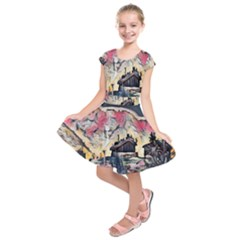 Modern Abstract Painting Kids  Short Sleeve Dress