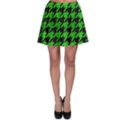 Houndstooth1 Black Marble & Green Brushed Metal Skater Skirt