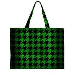 Houndstooth1 Black Marble & Green Brushed Metal Zipper Mini Tote Bag
