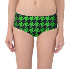 Houndstooth1 Black Marble & Green Brushed Metal Mid Waist Bikini Bottoms