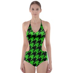 Houndstooth1 Black Marble & Green Brushed Metal Cut Out One Piece Swimsuit