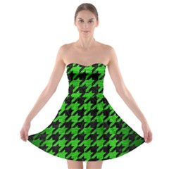 Houndstooth1 Black Marble & Green Brushed Metal Strapless Bra Top Dress