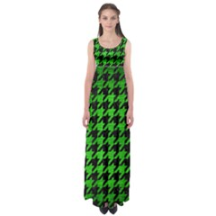 Houndstooth1 Black Marble & Green Brushed Metal Empire Waist Maxi Dress