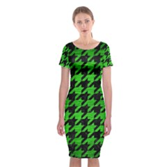 Houndstooth1 Black Marble & Green Brushed Metal Classic Short Sleeve Midi Dress