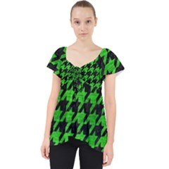 Houndstooth1 Black Marble & Green Brushed Metal Lace Front Dolly Top