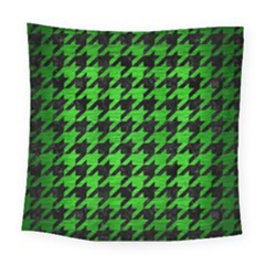 Houndstooth1 Black Marble & Green Brushed Metal Square Tapestry (large)