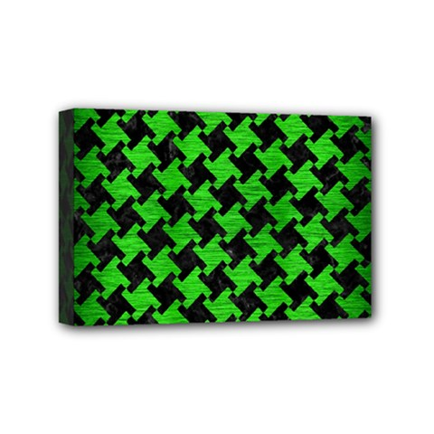 Houndstooth2 Black Marble & Green Brushed Metal Mini Canvas 6  X 4