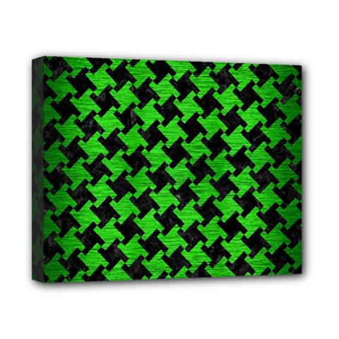 Houndstooth2 Black Marble & Green Brushed Metal Canvas 10  X 8