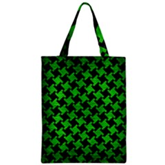Houndstooth2 Black Marble & Green Brushed Metal Zipper Classic Tote Bag