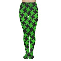 Houndstooth2 Black Marble & Green Brushed Metal Women s Tights