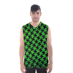 Houndstooth2 Black Marble & Green Brushed Metal Men s Basketball Tank Top