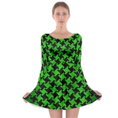 Houndstooth2 Black Marble & Green Brushed Metal Long Sleeve Skater Dress