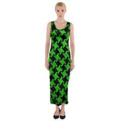Houndstooth2 Black Marble & Green Brushed Metal Fitted Maxi Dress