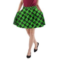 Houndstooth2 Black Marble & Green Brushed Metal A Line Pocket Skirt