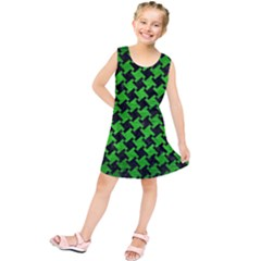Houndstooth2 Black Marble & Green Brushed Metal Kids  Tunic Dress
