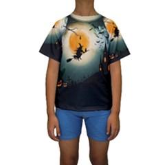 Halloween Landscape Kids  Short Sleeve Swimwear