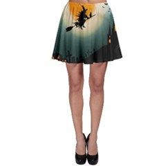 Halloween Landscape Skater Skirt