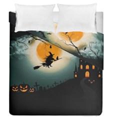 Halloween Landscape Duvet Cover Double Side (queen Size)