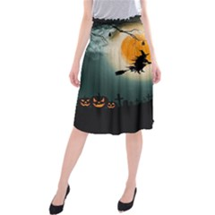 Halloween Landscape Midi Beach Skirt